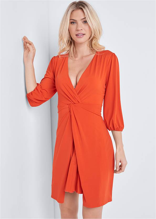 Pleated Front Midi Dress