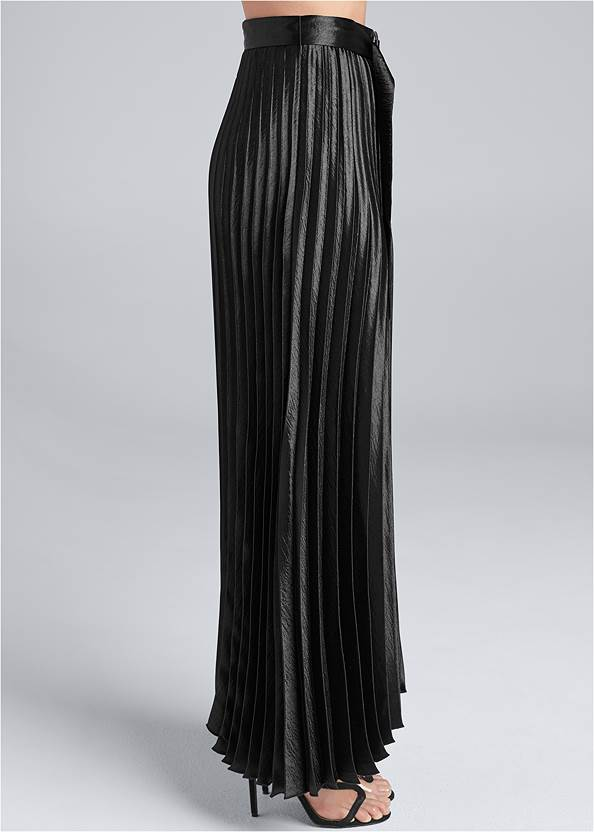 Waist down side view Belted Pleated Satin Skirt