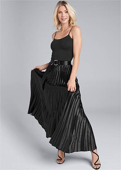 Belted Pleated Satin Skirt