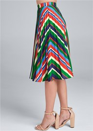Waist down side view Multi Stripe Pleated Skirt