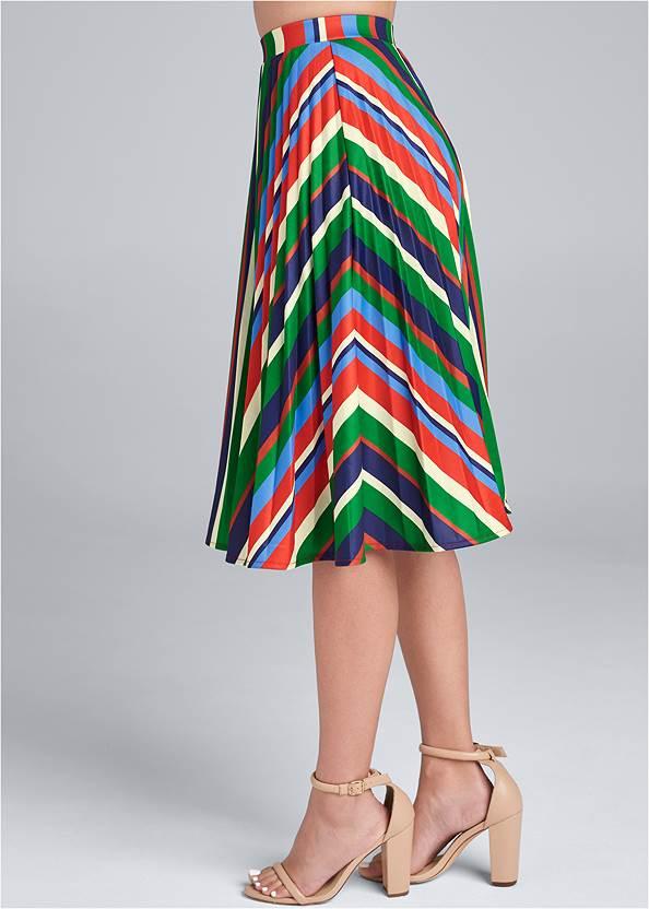 Waist down side view Multi Stripe Pleated Skirt