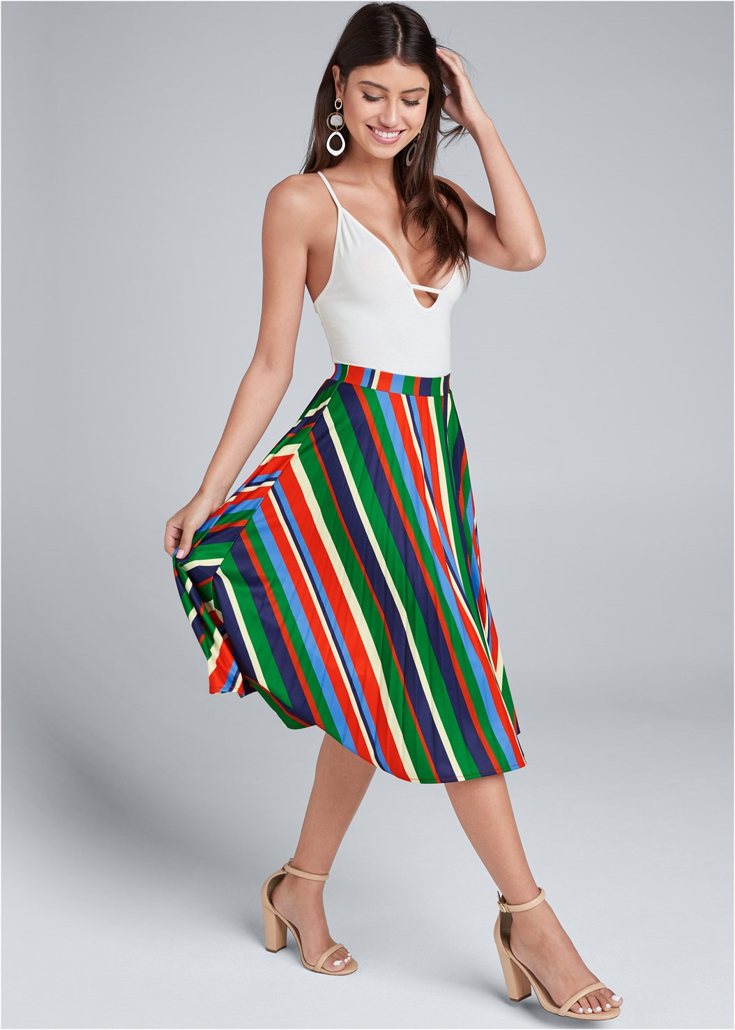 Multi Stripe Pleated Skirt,Block Heels