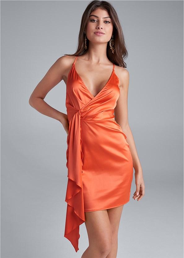 Drape Front Satin Dress,Embellished Heels