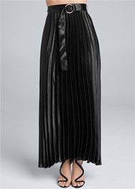 Waist down front view Belted Pleated Satin Skirt