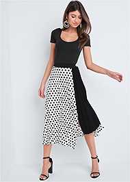 Front View Polka Dot Pleated Skirt