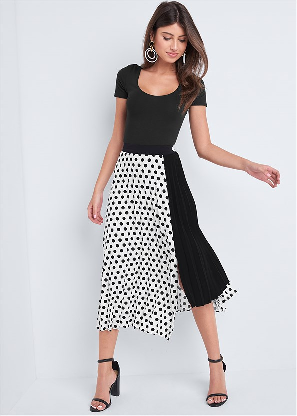 Polka Dot Pleated Skirt,Push Up Bra Buy 2 For $40,Block Heels,Color Block Hoop Earrings