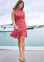 plus size printed flounce dress