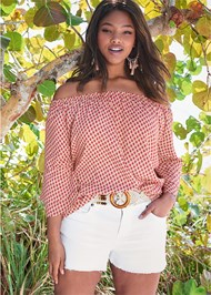 Cropped Front View Off The Shoulder Top