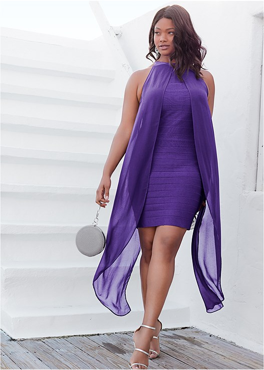 BANDAGE DRESS,HIGH HEEL STRAPPY SANDALS,CHANDELIER EARRINGS,RING HANDLE CIRCLE CLUTCH