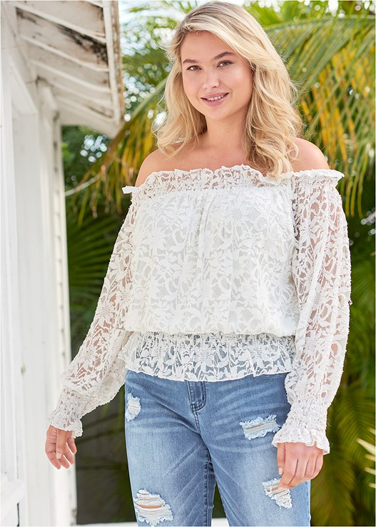 OFF THE SHOULDER LACE TOP,COLOR SKINNY JEANS,NUBRA ULTRALITE,BEADED HEELS,EMBELLISHED HAIR CLIP PACK,RING DETAIL BAG,BEAD DETAIL CROCHET BAG