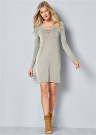 Front View Lattice Detail Casual Dress