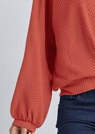 Detail front view Waffle Knit Lounge Top