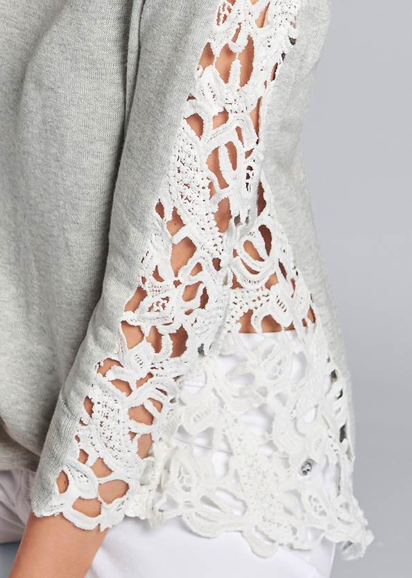 Detail front view Lace Sleeve Top