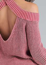 Detail back view Cold Shoulder Mock Neck Sweater
