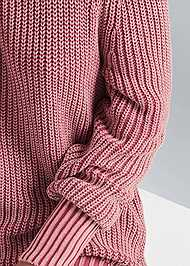 Detail front view Cold Shoulder Mock Neck Sweater