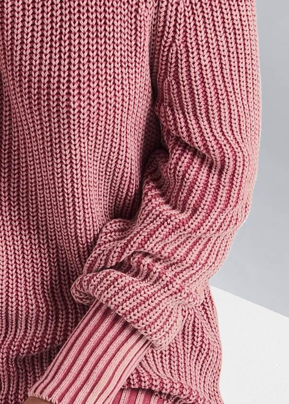 Detail front view Cold Shoulder Mock Neck Sweater
