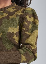 Detail front view Camo Print Puff Sleeve Sweater