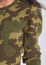 Alternate View Camo Print Puff Sleeve Sweater