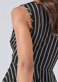 Detail back view Striped Color Blocked Dress