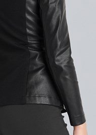 Detail back view Ponte And Faux Leather Jacket
