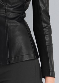 Detail front view Ponte And Faux Leather Jacket