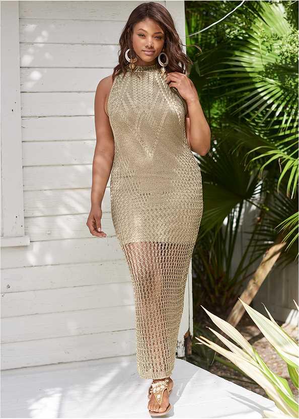 Metallic Crochet Dress,Shell Detail Sandals,Oversized Tassel Earrings