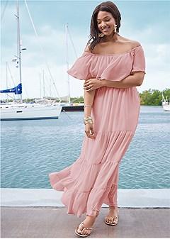 plus size tiered maxi dress