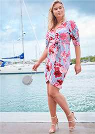 Front View Floral Faux Wrap Dress