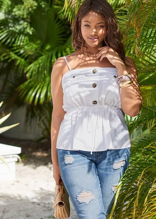 Button Front Utility Top,Triangle Hem Jeans,Animal Print Bangle Set