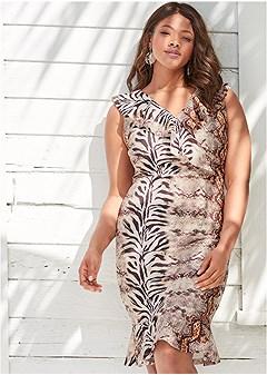 plus size mixed animal print dress