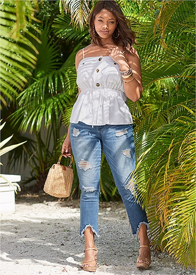 Plus Size Triangle Hem Jeans