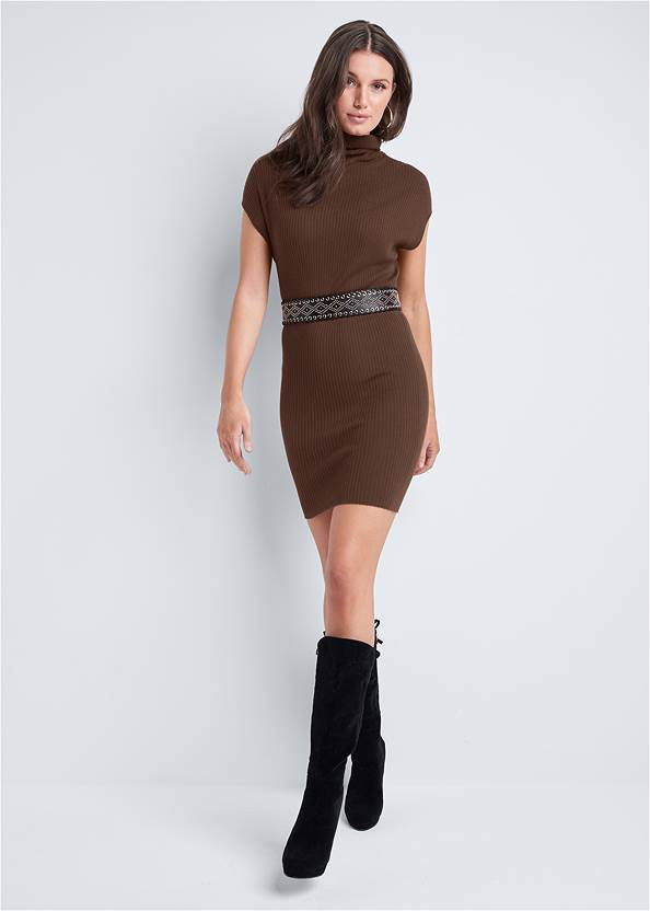 Full front view Turtleneck Sweater Dress