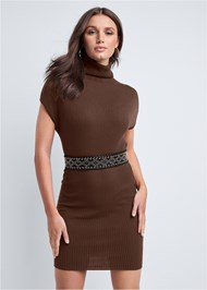 Cropped front view Turtleneck Sweater Dress
