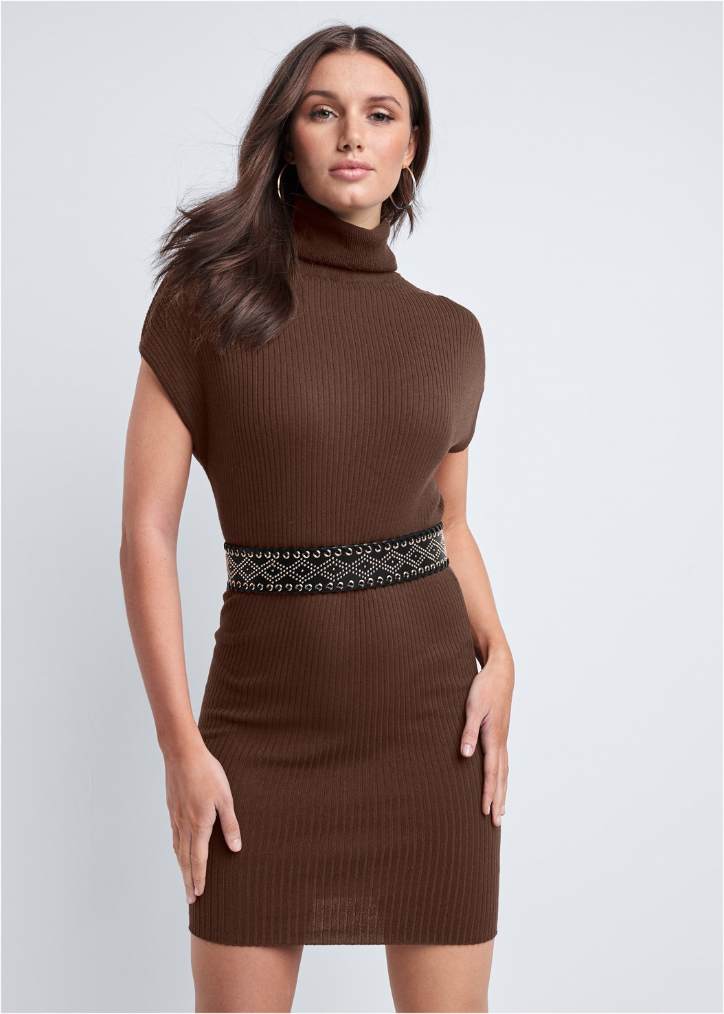 Turtleneck Sweater Dress,Seamless Unlined Bra,Knee High Block Heel Boot,Embellished Waist Belt