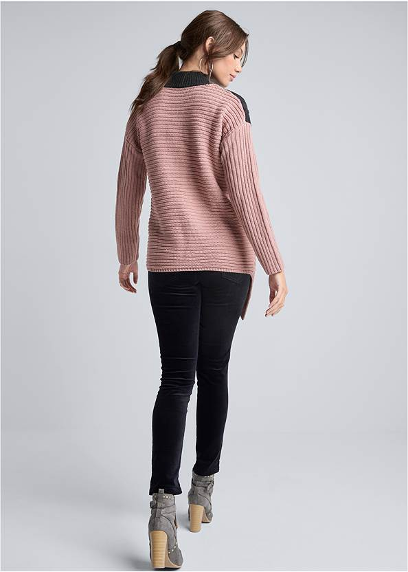Full back view Asymmetrical Color Block Sweater