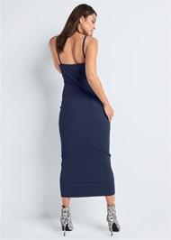 Back View Ribbed Midi Dress