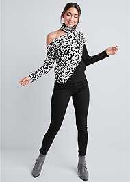 Full front view Leopard Print One Shoulder Sweater