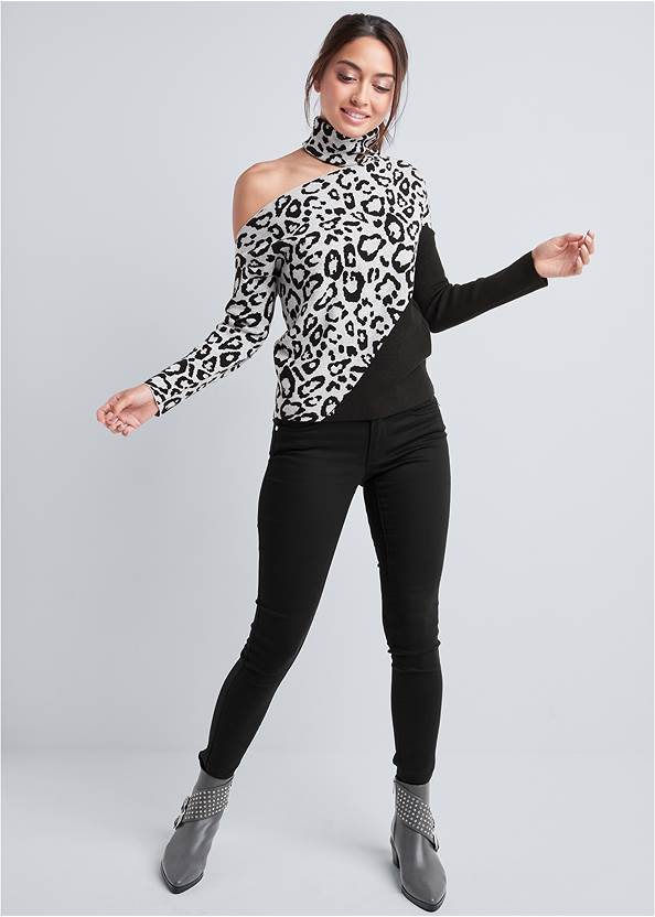 Full front view Leopard Print One-Shoulder Sweater