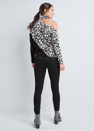 Full back view Leopard Print One Shoulder Sweater