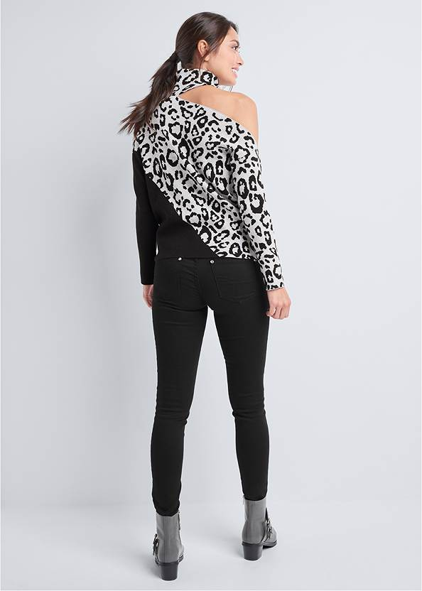 Full back view Leopard Print One-Shoulder Sweater