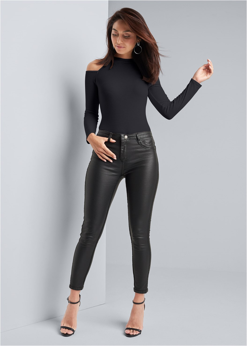 Reversible Faux Leather Skinny Jeans,Ribbed Long Sleeve Top,Kissable Convertible Bra,Ankle Strap Heels