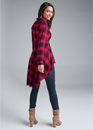 Back View Plaid High Low Top