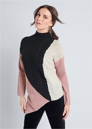 Front View Asymmetrical Color Block Sweater