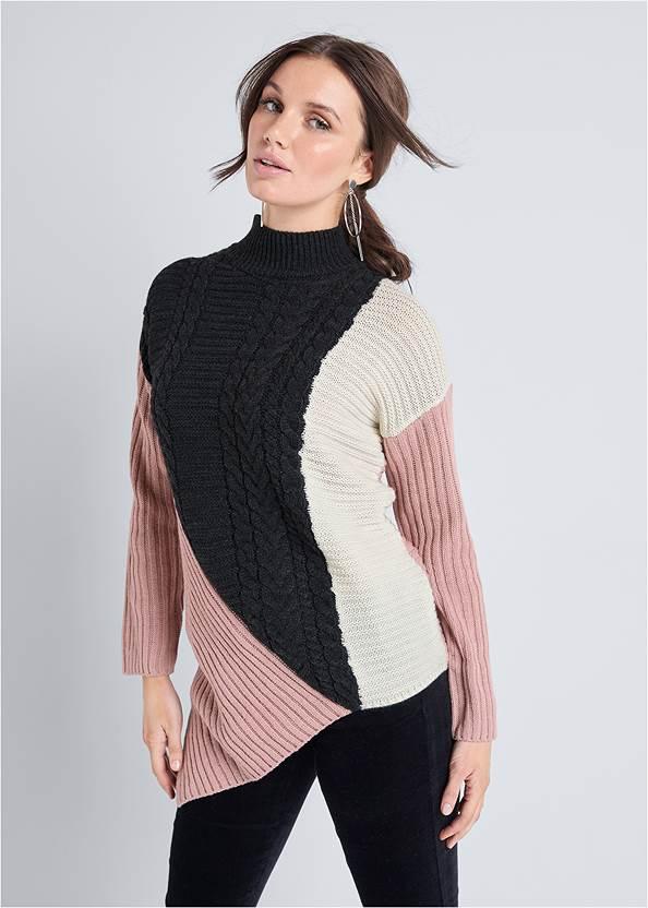 Asymmetrical Color Block Sweater,Velvet Pants,Wrap Stitch Detail Booties,Hoop Detail Earrings