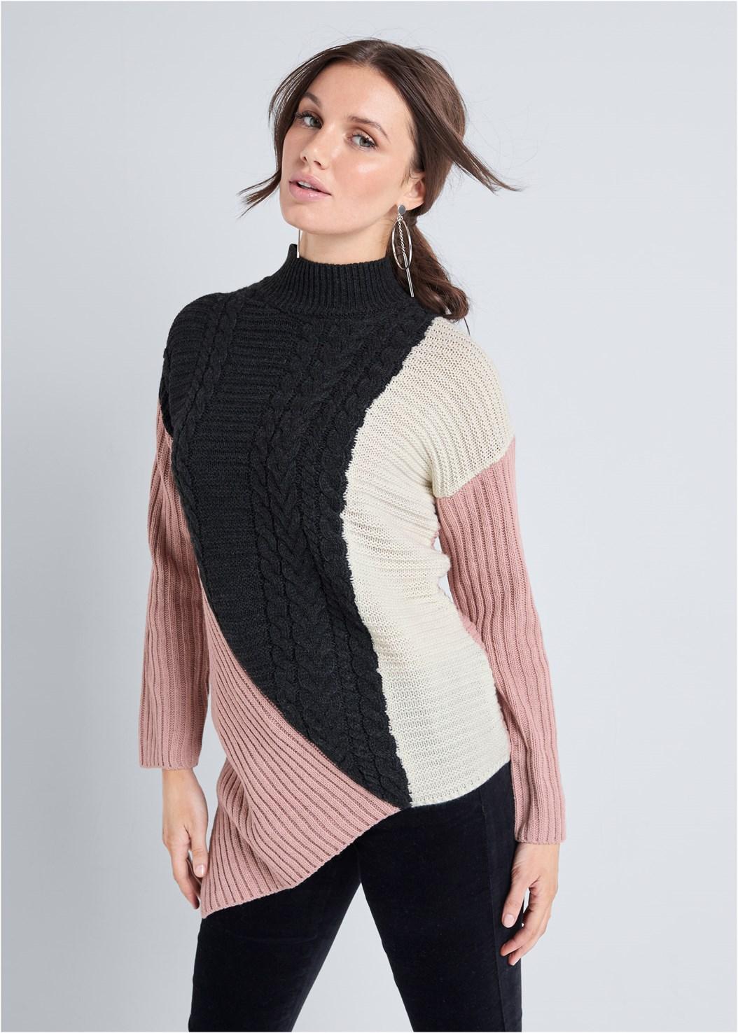 Asymmetrical Color Block Sweater,Velvet Pants,Seamless Unlined Bra,Hoop Detail Earrings
