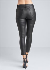 Back View Reversible Faux Leather Skinny Jeans
