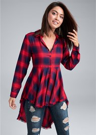 Front View Plaid High Low Top
