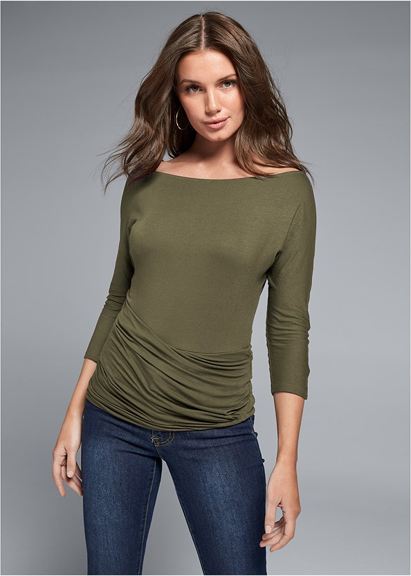 Casual Top,Mid Rise Color Skinny Jeans,Kissable Convertible Bra,Over The Knee Stretch Boots,Mixed Earring Set