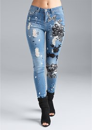 Waist down front view Floral Applique Skinny Jeans