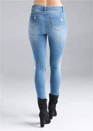 Waist down back view Floral Applique Skinny Jeans